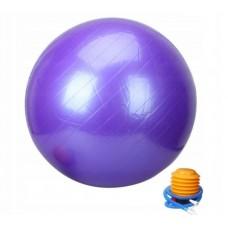 Violetinis gimnastikos kamuolys su pompa 65 cm. L20075