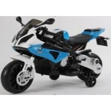 Didelis mėlynas elektrinis motociklas BMW S1000RR