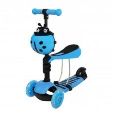Paspirtukas su stūmimo rankena Scooter 5in1 mėlynas