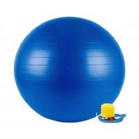 Mėlynas gimnastikos kamuolys su pompa, 75 cm.